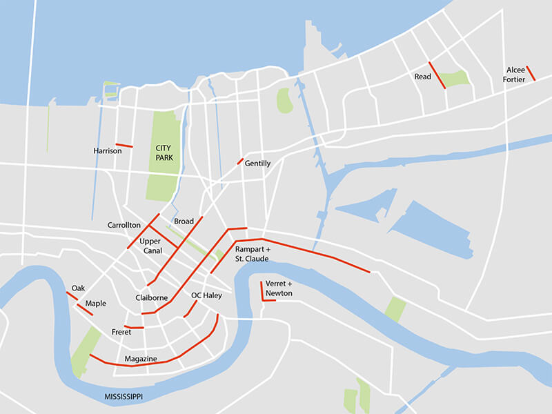 Map of New Orleans' Commercial Corridors
