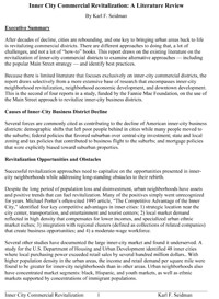 Inner City Commercial Revitalization Literature Review